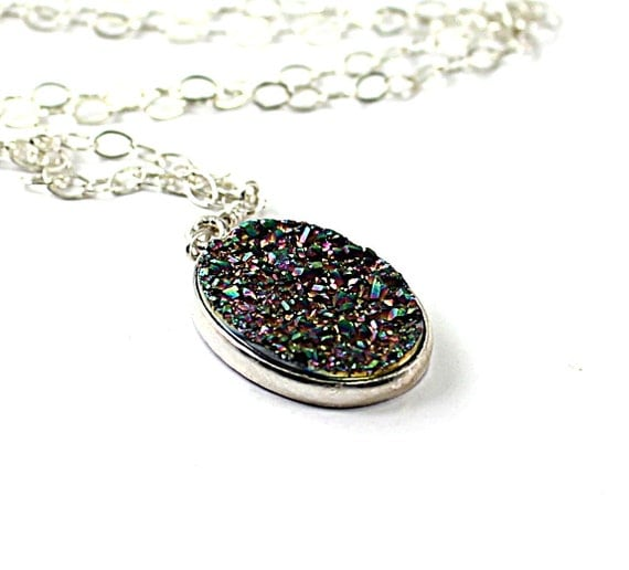 Druzy necklace: drusy agate stone, sterling silver chain, bold druzy handmade fashion shiny necklace for women colorful sparkling gray grey