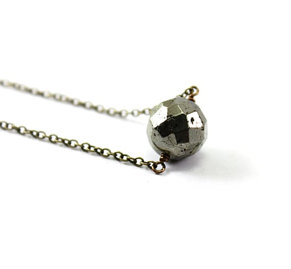 Pyrite necklace: natural stone necklace, pyrite ball, geometric minimalist silver industrial chic grey gray fool's gold