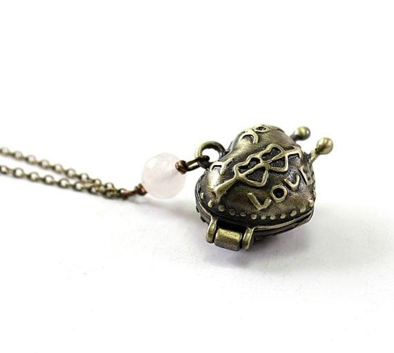 Heart necklace: brass heart locket necklace Valentines Day necklace, rose quartz I love you jewelry girlfriend wife locket heart