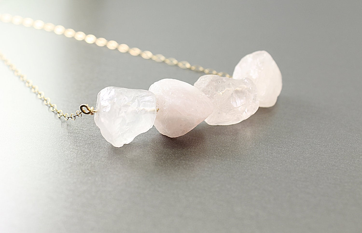 Raw Stone Necklace Rough Rose Quartz Necklace Gold Filled