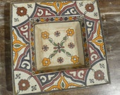 Moroccan square plate, hand painted ceramic plate
