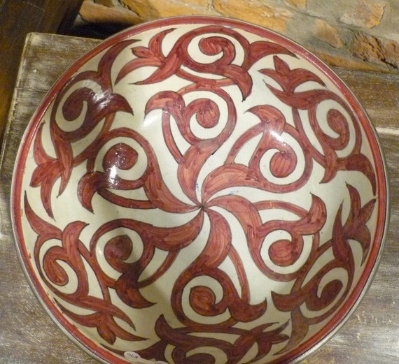 Vintage hand painted, ceramic Moroccan bowl