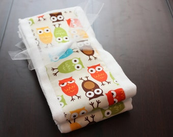 Ann Kelle Owl Set of 2 Burp Cloths