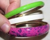 Vintage Multicolor Bangle Bracelets Set of 3
