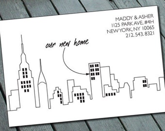 WE MOVED (Address Change) ANNOUNCEMENT (city theme): Digital printable file