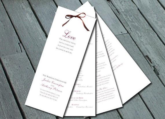 DIY Sophisticated & Elegant WEDDING PROGRAM: Digital printable file/Printing Available Upon Request