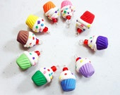 RAINBOW CUPCAKE  Polymer Clay Charms - Select your favorite  10 pcs