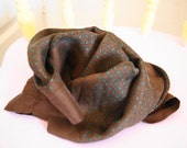 vintage chocolate brown small square silk scarf
