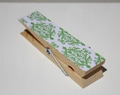 Large Green & White Magnetic Clothespin