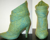 Designer ankle boots covered with nuno felt OOAK - Metamorphosis 1 - Green Blue