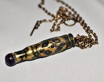 Steampunk Clock Gear Bullet Casing Pendent