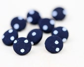 Polka dot Navy Blue and White Fabric Covered Vintage Buttons - set of 9