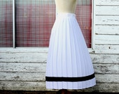Beautiful Nautical White Pleated Skirt With Navy Blue Stripe