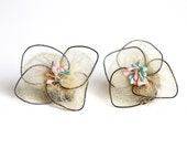 Unusual Antique Earrings - Extra Delicate Flowers - Clip on earrings