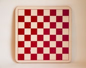 RESEVED for KAREN Wood and Red Chess Board or Checker Board - Chinese Checkers on the other side