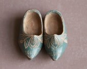 Miniature Wooden Clogs in Blue - Souvenir from Holland