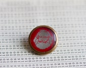 Karl Marx Badge - Iconic Silver against Red Image Encased in Brass Pin