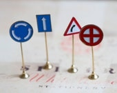 Tiny Metal Road Signs - Miniature model making - Set of 4
