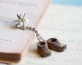 RESERVED for YIN - Love Hiking - Edelweiss Flower and Tiny Boots Brooch - Souvenir from Alps in Austria