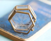 Tiny Brass and Glass Display Case with Etched Surface - Trinket Box