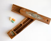 Antique Wooden Pencil Case Box with Sliding Top and Hidden Tray