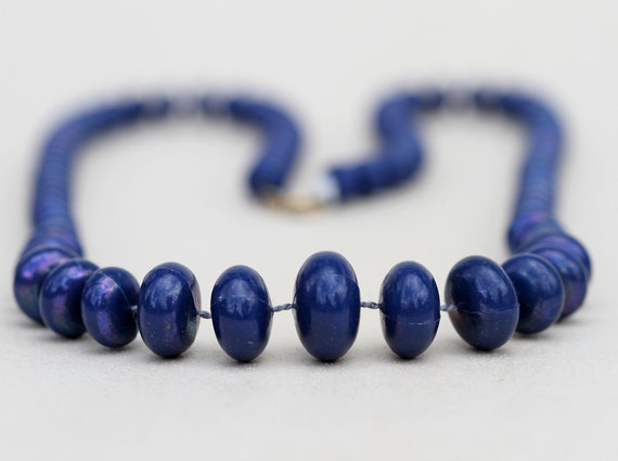 Mod Navy Blue Necklace with Chunky Flat Beads