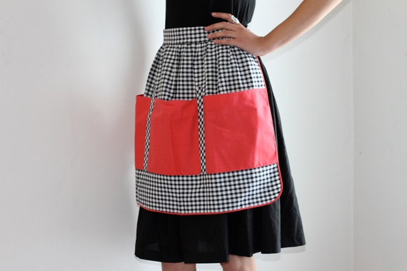 Black and White Chequered Eighties Half Apron with Red Pockets - St Michael