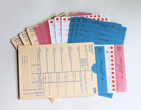 Out of Print NHS Medical  Patient Records File Cards