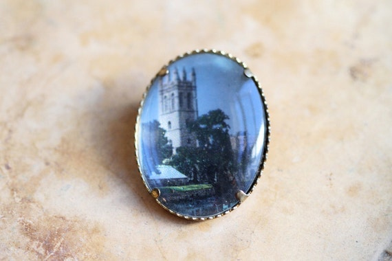 RESERVED for FRANCES - Rapunzel Plight - Souvenir Oval Brooch Color Picture of Tower