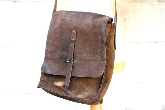 Distressed Leather Postman Bag