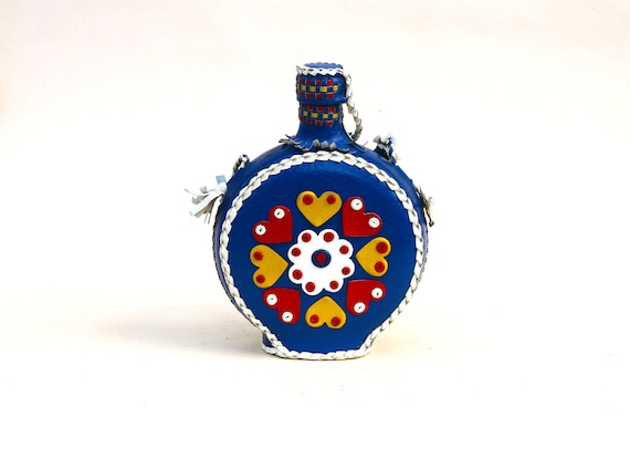 Colorful Flask - Travel Bottle in Electric Blue Leather