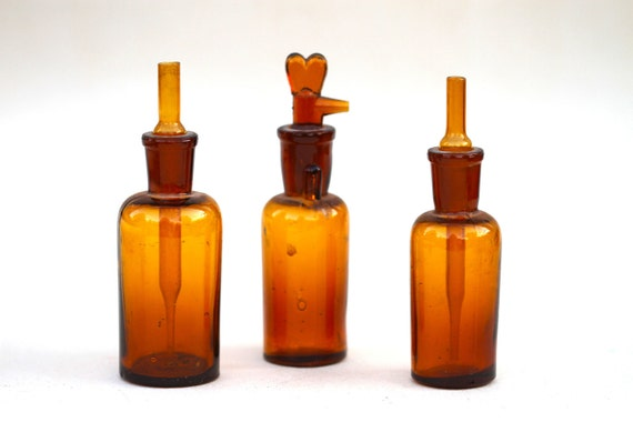 Antique Apothecary Amber Glass Medicine Bottles with Stopper and Pipette - Set of Three