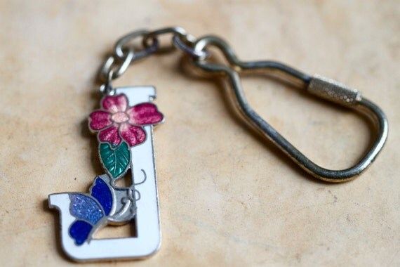 Art Nouveau Letter J Key Ring Keychain - Enamel Pink White and Blue on Gold