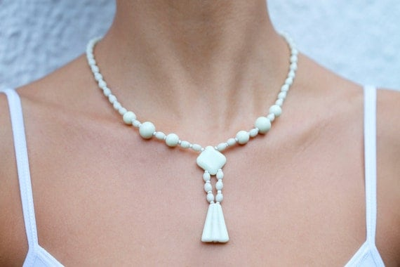 Milk Glass Art Nouveau Necklace
