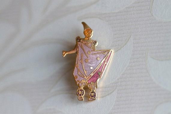 Vintage Pierrot Arte Nouveau Enamel Pin Brooch Badge
