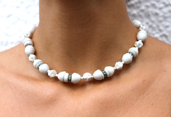 Vintage 1940's White Milk Glass Bead & Crystal Rondelle Necklace