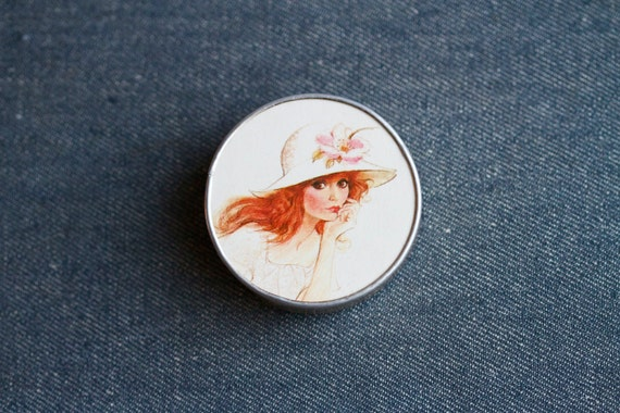 Romantic Red Head Eighties Compact Mirror