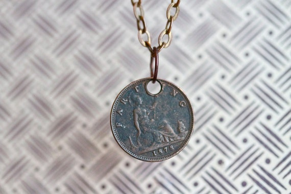 1878 Great Britain Farthing Copper Coin on Brass Chain