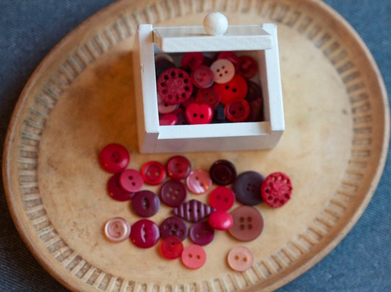 Small Wooden Box with Red Buttons - Trinket Box