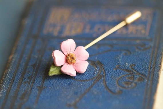 Pink Flower Stick Pin Brooch
