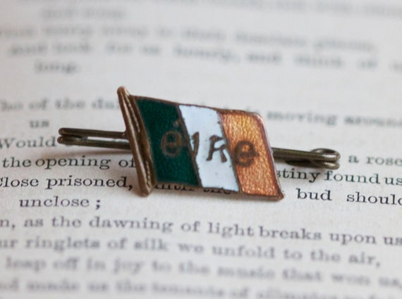 Irish Eire Country Flag Badge- Antique Small Brass and Enamel Brooch Pin - Souvenir from Ireland