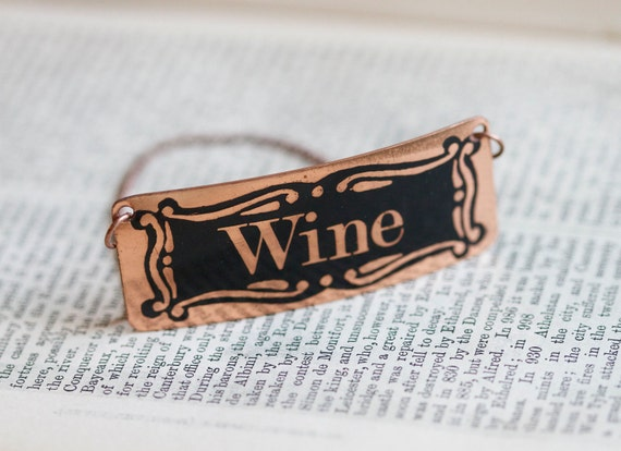 Copper Decanter Wine Tag or Bottle Label