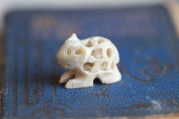 Tiny Weenie Carved Stone Pregnant Animal Figurine - off White Miniature