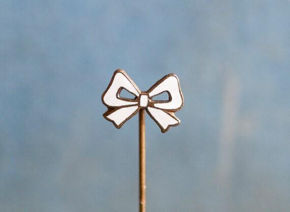 Tiny Weenie Enamel White Bow - Brass Stick Pin