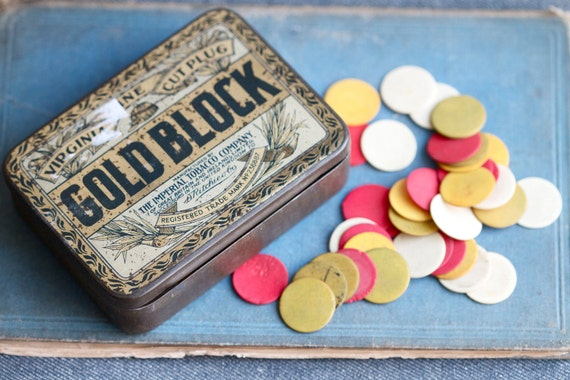 Charming Antique Box of Bone Chips - 97 Clorful Game Tokens