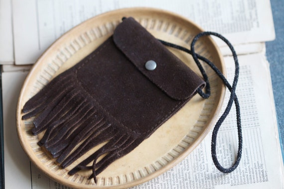 Small Vintage Leather Suede Pouch with Fringes