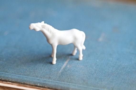 Tiny Milk Glass Horse Figurine - Miniature White Glass