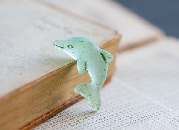 Tiny Green Dolphin Frosty Glass Figurine - Miniature Sea Creature
