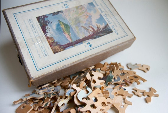 Antique Wooden Jigsaw Puzzle Pieces in Charming Box - 120 for Atered arts Jewelry assmblage