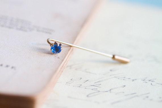 Tiny Weenie Blue Rhinestone - Brass Stick Pin